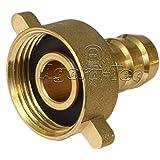 Agora-Tec® Messing Schlauchtülle 1/2 Zoll (12,7 mm) auf 3/4 Zoll IG (24,2 mm) Industriequaltät mit Flachdichtung für 1/2 Zoll Gartenschlauch mit einen Innendurchmesser von 12,7 mm