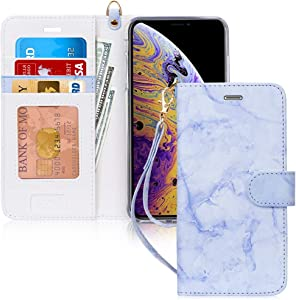 """FYY Case for iPhone Xs Max (6.5"""") 2018, [Kickstand Feature] Luxury PU Leather Wallet Case Flip Folio Cover with [Card Slots] [Wrist Strap] for Apple iPhone Xs Max (6.5"""") 2018 Lavender"""