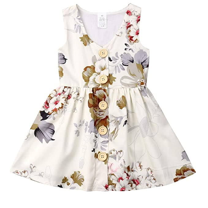 be0af49d3b80 Amazon.com: Baby Girls Vintage Floral Dress Sleeveless Button Party Formal  Dresses Summer Clothes for 6M-5Y Little Girls: Clothing