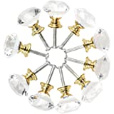 Crystal Knobs,MAIKEHOME 10 X 40MM Acrylic Glass Diamond Cut Cabinet Door Drawer Knob Kitchen Dresser Wardrobe Pull Handle with Screws for Home Decorating