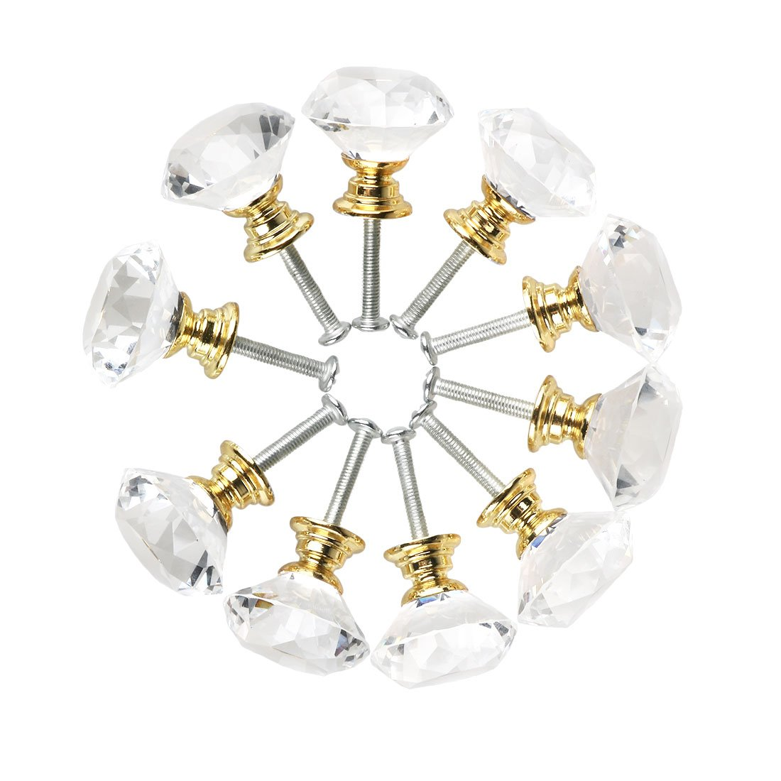 uxcell Diamond Shape Crystal Glass 30mm Kitchen Cabinet Door Drawer Knob Cupboard Dresser Wardrobe Pull Handle with Screws, 10pcs Clear with Gold Tone Base