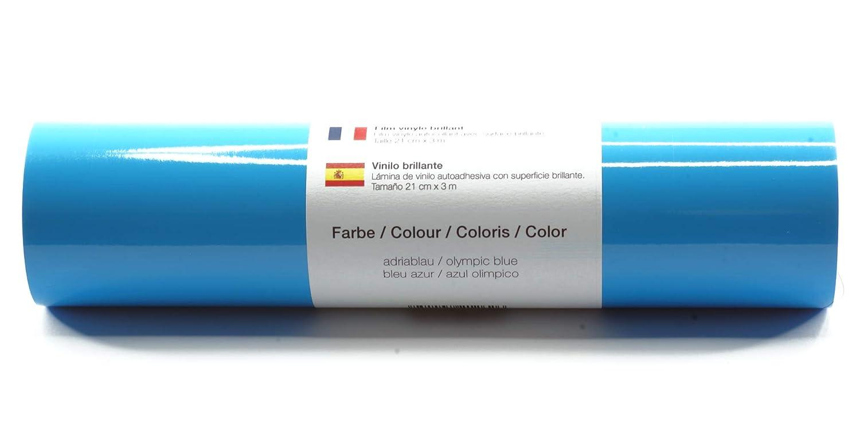 Lámina de plotter autoadhesiva lámina de vinilo 21 cm x 3 m brillo 39 colores a elegir, Glänzend L-Serie:Azul Olimpico: Amazon.es: Hogar