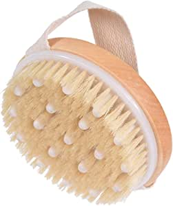 ALINK Body Brush for Wet or Dry Brushing - Gentle Exfoliating for Softer, Glowing Skin - Get Rid of Your Cellulite and Dry Skin, Improve Your Circulation - Natural Bristles and Gentle Massage Nodes …