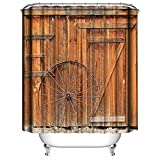 Shower Curtain Bathroom Decoration Design Decor Mildew Resistant Repellent Water Resistant Fabric Shower Curtain [Retro Country], Dimaka Home Textile (71''W x 71''L, Old Style Vintage Wooden Barn Door)
