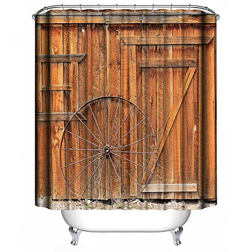 Shower Curtain Bathroom Decoration Design Decor Mildew Resistant Repellent Water Resistant Fabric Shower Curtain [Retro Country], Dimaka Home Textile (71''W x 71''L, Old Style Vintage Wooden Barn Door) by Dimaka