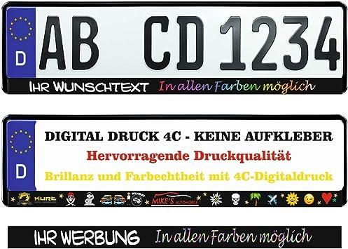 20 Stück Kennzeichenhalter Schwarz Mit Wunschtext Beschriftung Werbung Bedruckt Individuell Auto