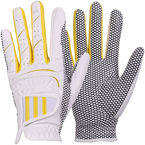 Yellow Womens Golf Glove - GH Women's Leather Golf Gloves One Pair - Three Lines Both Hands (Yellow, 21 (L))