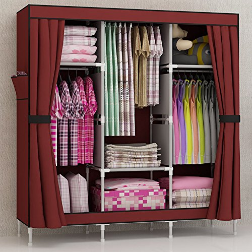 Generic Triple Portable Folding Clothes Wardrobe Closet Armoire Storage Rack Cabinet