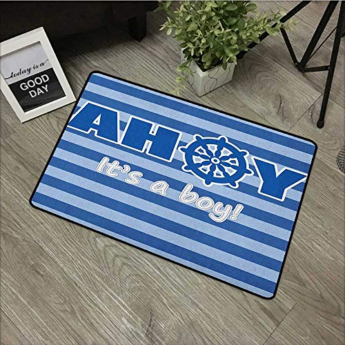 (Bedroom Door mat W19 x L31 INCH Ahoy Its a Boy,Baby Shower New Birth Announcement Marine Wheel Striped Backdrop, Pale Blue Blue White Non-Slip Door Mat Carpet)