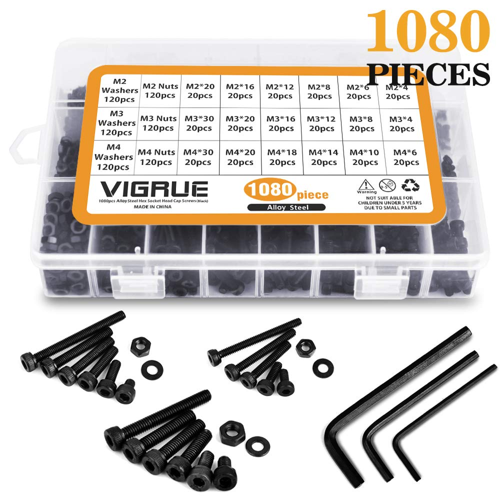 M2 M3 M4 Alloy Steel Hex Socket Head Cap Screws Nuts Set 1080pcs Assortment Kit with Storage Box, Three Hex Wrenches Included (1080 PCS)