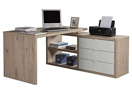 Scrivania Ufficio Bianco Lucido : Scrivania con allungo e tre cassetti color rovere naturale e