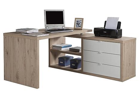 Composad scrivania con allungo e tre cassetti color rovere naturale