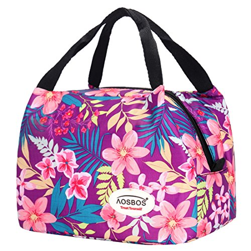 lated Lunch Box Tote Bag (Rich Flowers) (Girl Tote Bag)