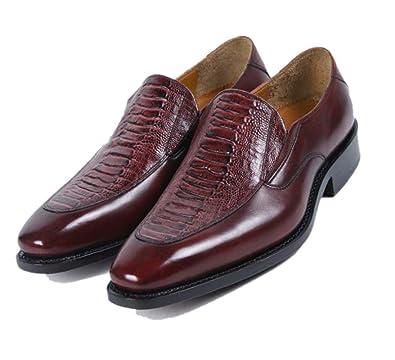 zmlsc Marron Pointu Chaussures en Cuir pour Hommes Habillés