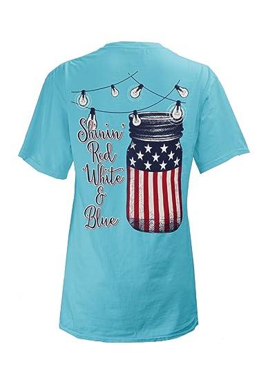 109a0dcd Royce Brand Womens Shinin Red White & Blue T-Shirt, Lagoon Blue at ...