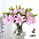 SUNNIOR 1 Bunch 3 Head giglio bianco Profumo Bouquet da sposa fiore artificiale / Graves / Vases,Rosa(5Pcs)