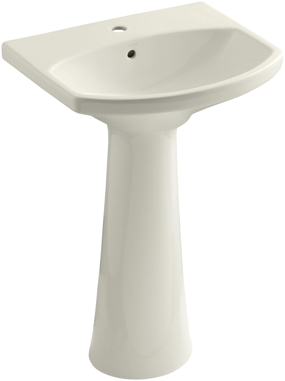 Almond KOHLER K-2362-1-47 Cimarron Pedestal Bathroom Sink with Single-Hole Faucet Drilling