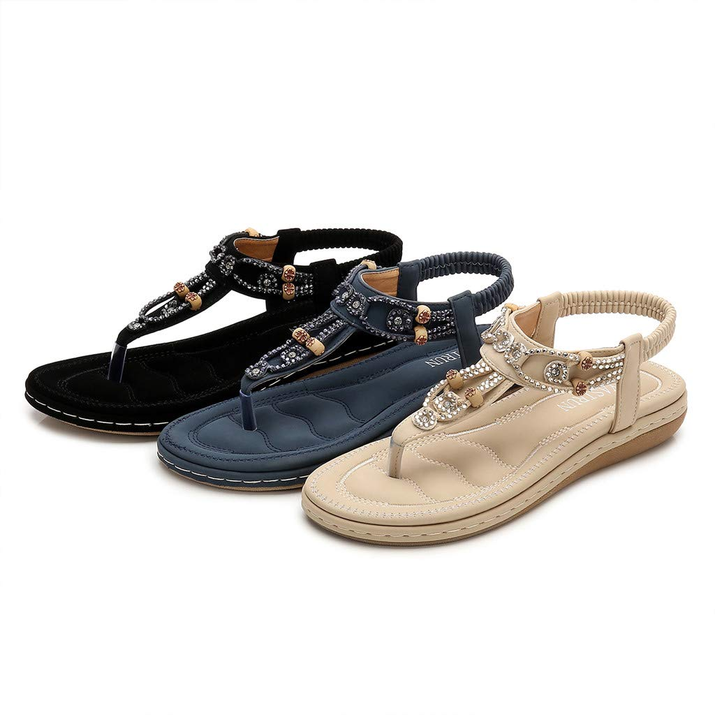JiaMeng Zapatos de Moda Sandalias de Bohemia con Diamantes de imitación Casuales Sandalias de Mujer Peep-Toe Zapatos al Aire Libre de Vestir Verano: ...