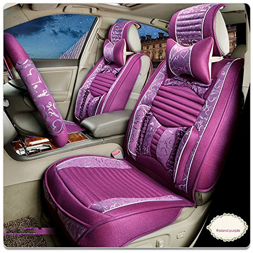 [ANKIV Purple FULL SET Universal Fit 5 Seats Car Luxury Royal Women Girls Sweet Heart Front and Rear Car Seat Covers Protectors Lovely Princess Auto Seat Cushions with Waist Headrest Support] (Sweetheart Girl)