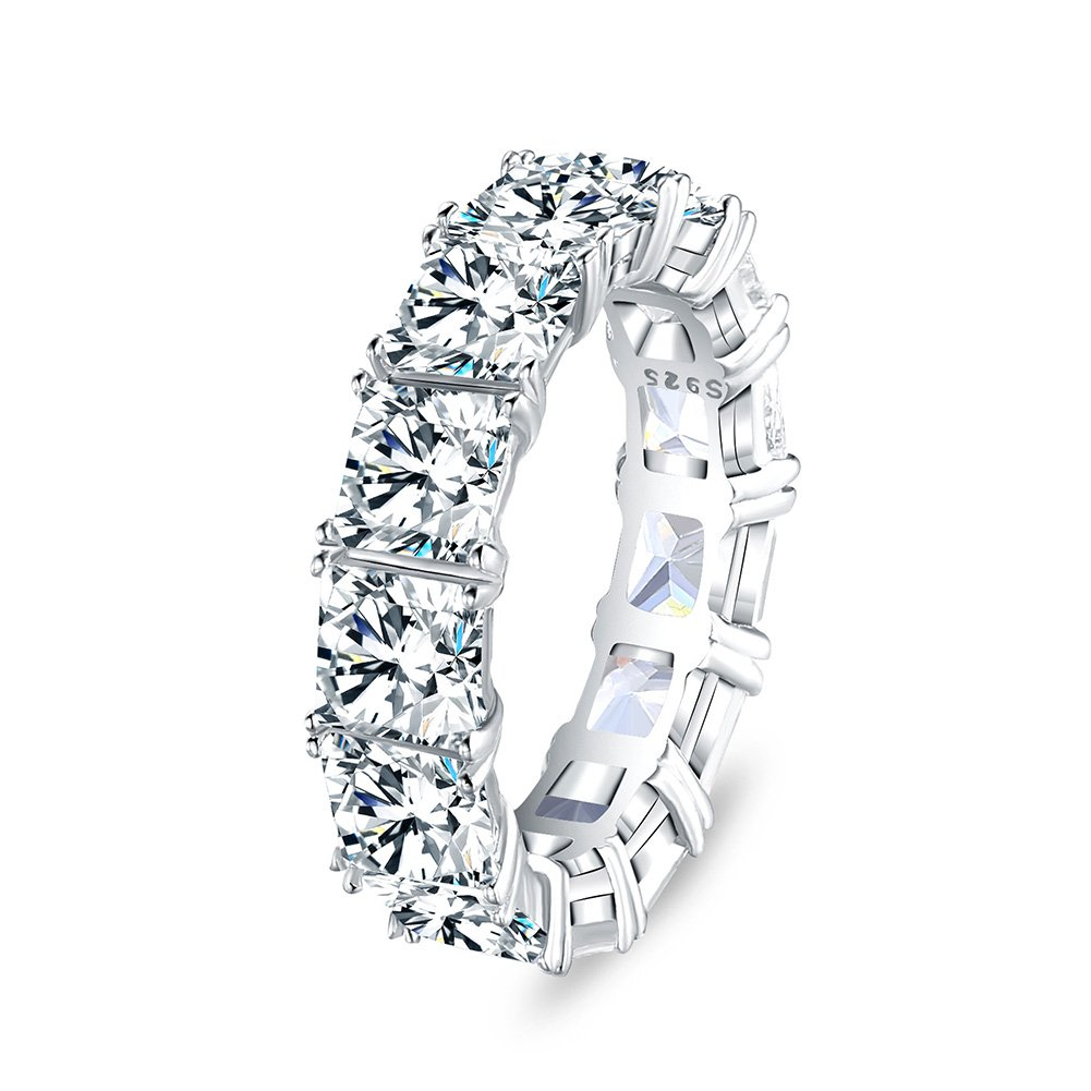 50678faade08f Mozume Eternity Band Cocktail Ring 925 Sterling Silver Princess Cut Cubic  Zirconia Stone