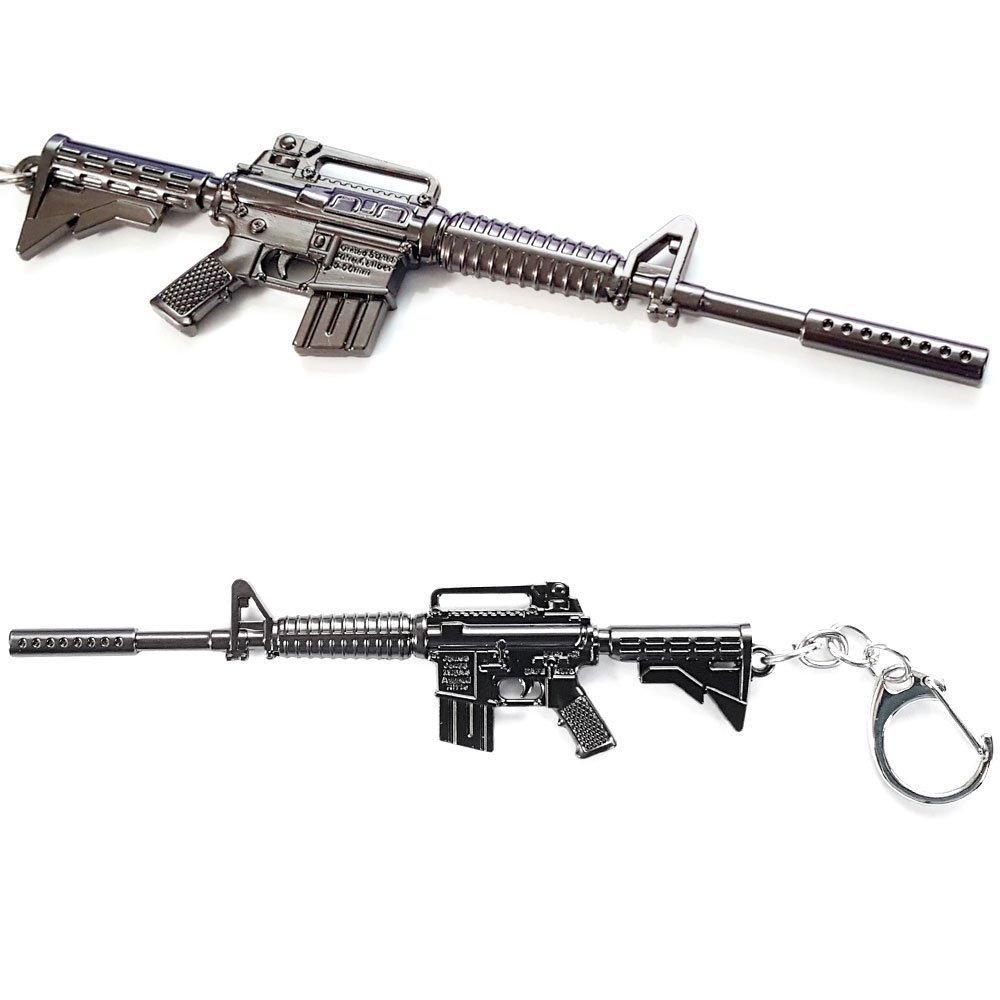 GFDay Battlegrounds 3D Metal Key Chain PUBG Keyring Gun Model Action Figure  Arts Toys Collection Gift (M4A1)
