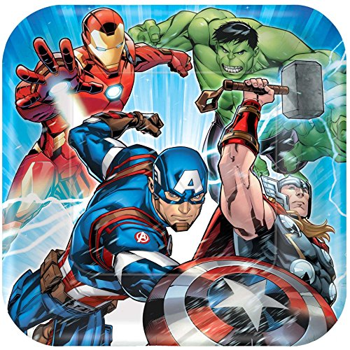 8 Count Avengers Square Dinner Plates, Multicolored -