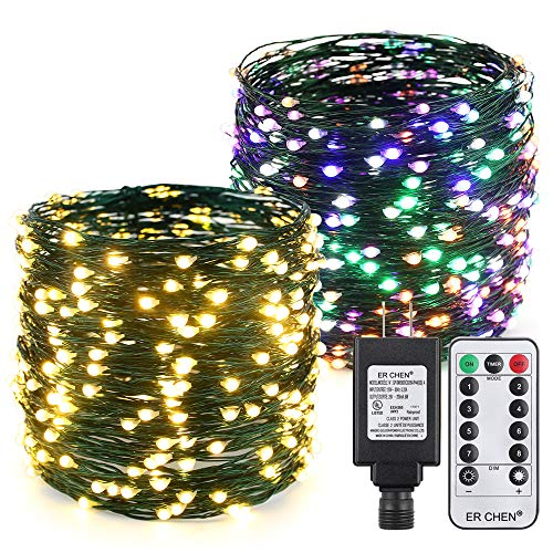 ER CHEN Color Changing LED String Lights Plug in with Remote Timer, 105Ft 300 LEDs Waterproof Green Copper Wire 8 Modes Christmas Fairy Lights for Bedroom, Patio, Garden, Yard-Warm White & Multicolo