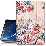 Hocase Galaxy Tab A 10.1 Case, SM-T580/T585 (NO S Pen Version) Case, PU Leather Case w/Flower Design, Auto Sleep/Wake Feature, Hard Back Cover for Samsung Galaxy Tab A 10.1-Inch - Peony Flowers