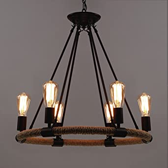 Baycheer rustic rope chandeliers 25 inch industrial chandeliers baycheer rustic rope chandeliers 25 inch industrial chandeliers pendant light lighting fixture 6 lights mozeypictures Choice Image