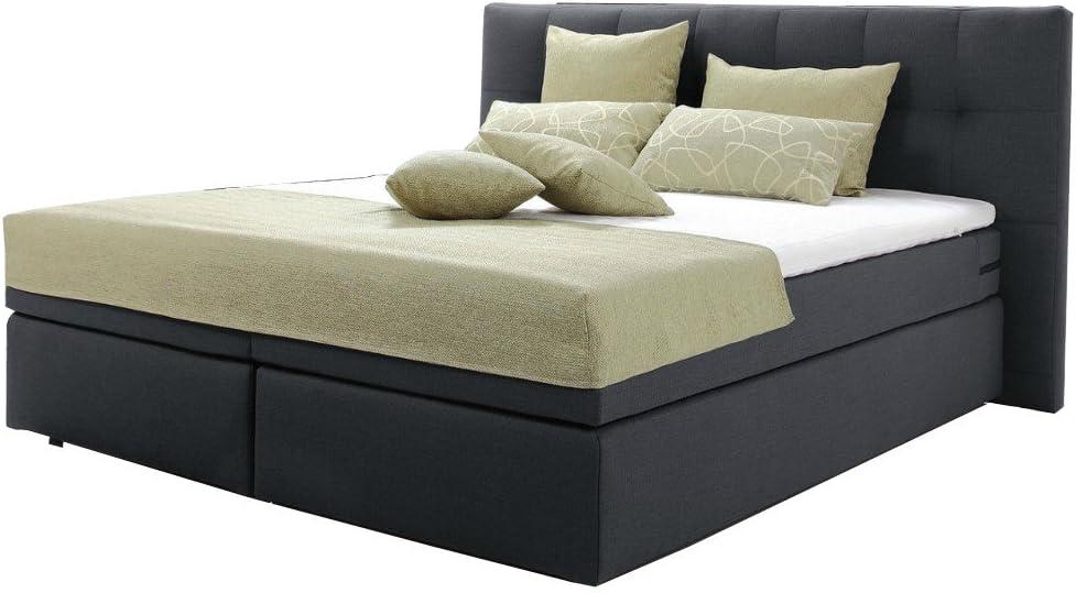 Cama con somier, acolchado, hotel cama 200 x 200 cm Negro ...