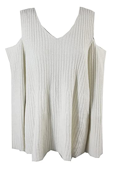 ac639eee358 Womens Plus Cold Shoulder Ribbed Pullover Sweater Ivory 0X at Amazon Women s  Clothing store