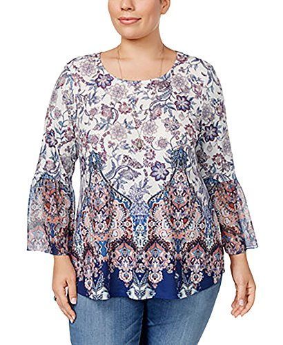 (Style & Co. Womens Plus Printed Mixed Media Casual Top White)