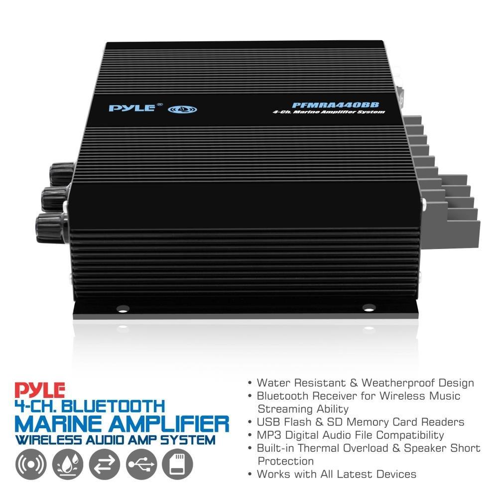 Pyle 4 Channel Marine Amplifier - Compact Power 400 Watt RMS 4 OHM Full Range Stereo & Waterproof - Wireless Bluetooth Receiver Audio Speaker with LCD Digital Screen - PFMRA440BB by Pyle (Image #4)