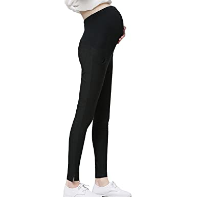 fe4e5a8f185513 JOYNCLEON Pregnant Women Work Pants Stretchy Maternity Skinny Ankle Trousers  Slim for Women (S =