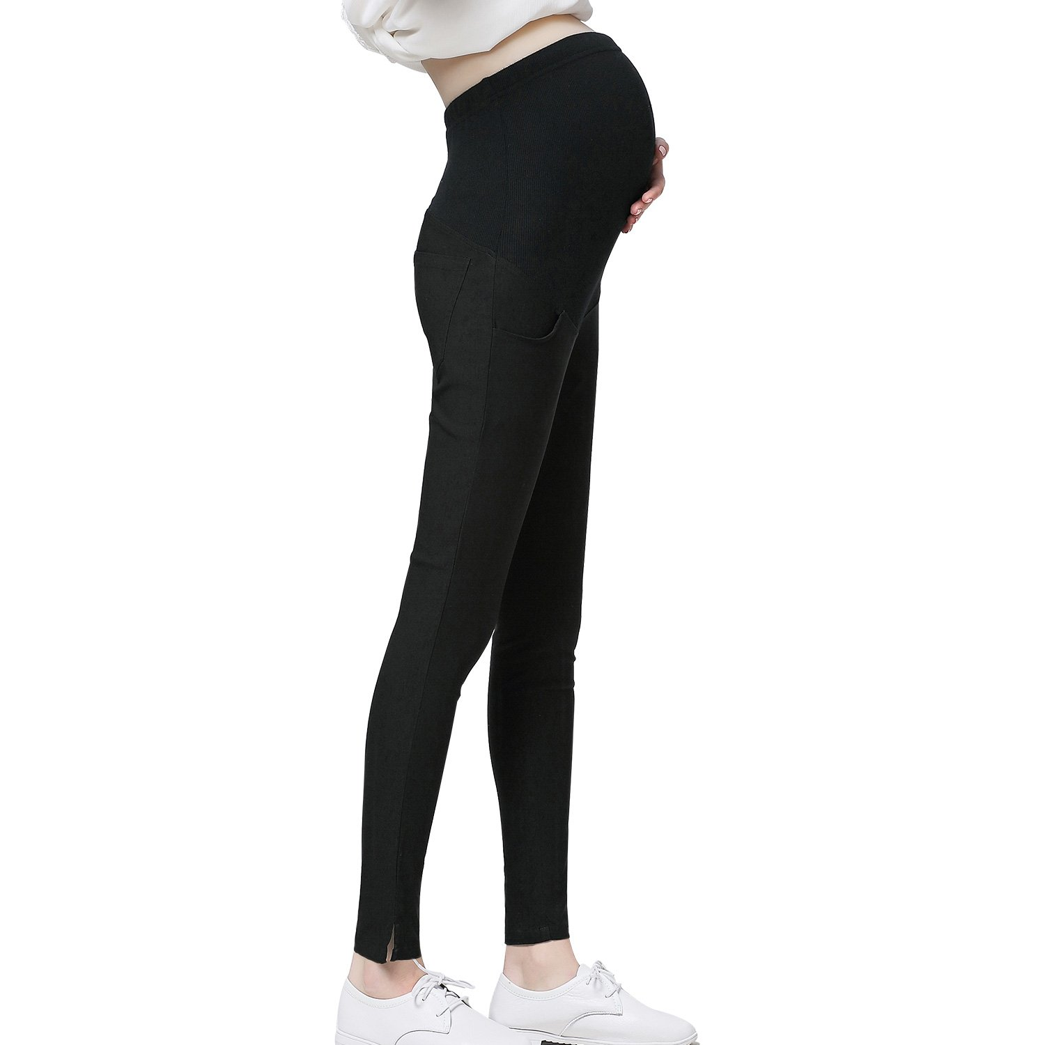 JOYNCLEON Pregnant Women Work Pants Stretchy Maternity Skinny Ankle Trousers Slim for Women (Label XXXL = US 16-18 fit for Hip 40.2'', Black)