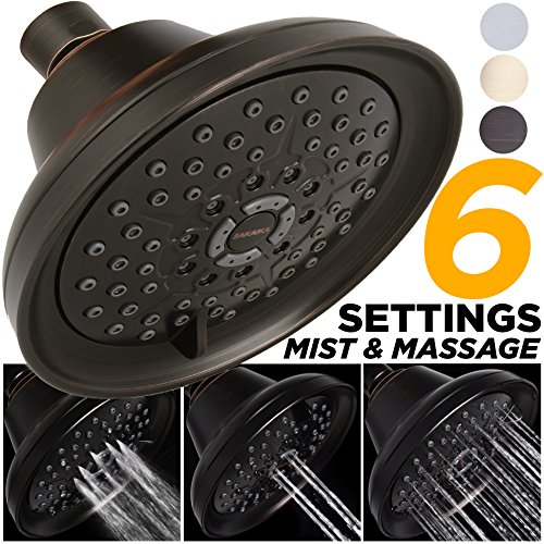 Mist Shower Head High Pressure Multi Function 2.5 GPM Powerful Spray, Best Shower Massage Wall Mount Fixed Shower for Modern Luxury Bathroom, High Flow Jet Adjustable Oil Rubbed Bronze Shower (Bronze Massage)