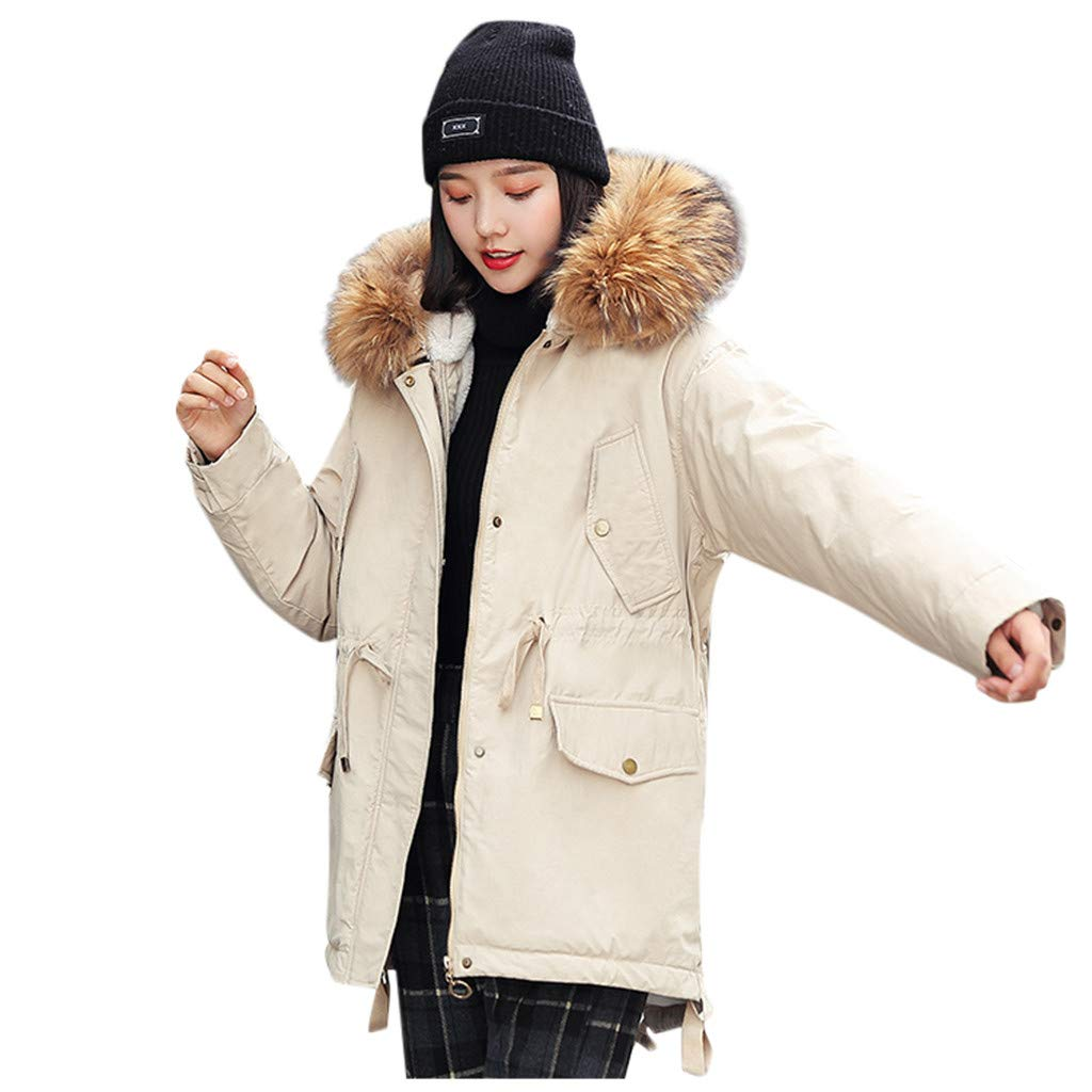 Wenini Women Outerwear Faux Fur Trim Hooded Button Coat Long Solid Jackets Pocket Coats by Wenini