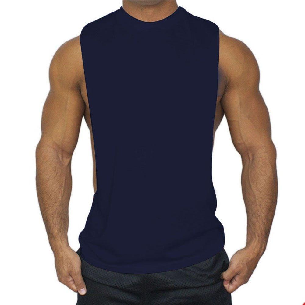 Mens Basic Cotton Fitness Tank Tops Casual Sleeveless Shirt