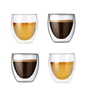 Gmark Espresso Cups Shot Glass 2.7-Ounce Coffee Set of 4 -Double Wall Thermo Insulated GM2028