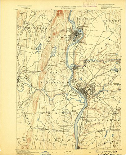 Springfield MA topo map, 1:62500 scale, 15 X 15 Minute, Historical, 1889, 19.4 x 15.8 IN - - Map County North Westfield