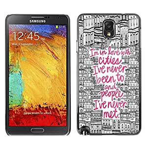 Plastic Shell Protective Case Cover || Samsung Galaxy Note 3 N9000 N9002 N9005 || City Drawing Pink Europe @XPTECH