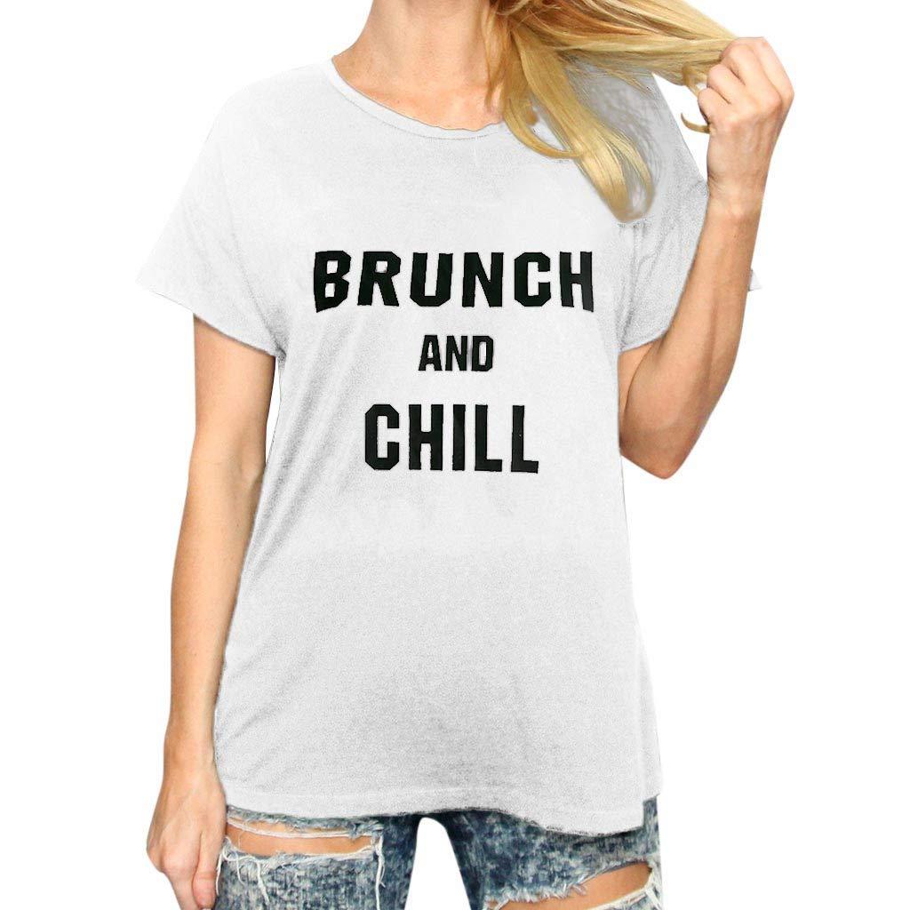 Womens Fashion Blouse Summer Plain Letter Print Tops Casual Short-Sleeved O-Neck Shirt (White, XL)