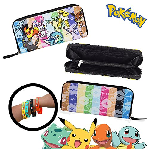 Pokemon Eevee Evolve Purse Wallet & 4-Pack Bracelets - Great for Camping Sports Birthday Party School - Vaporeon Jolteon Flareon Umbreon Leafeon Sylveon Glaceon (Lucario Costume For Sale)