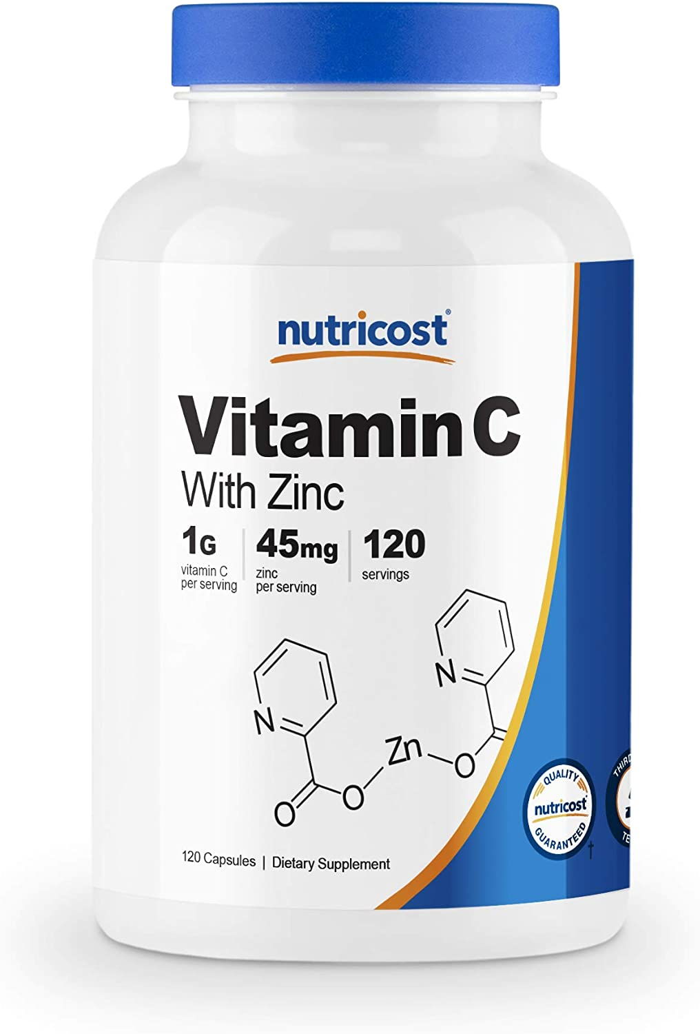 Nutricost Vitamin C with Zinc, 120 Capsules - 1000mg Vitamin C, 45mg Zinc, Non-GMO, Gluten Free Vitamin C Supplement