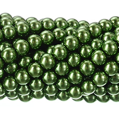 RUBYCA 200Pcs Czech Tiny Satin Luster Glass Pearl Round Beads DIY Jewelry Making 10mm Light Olivine
