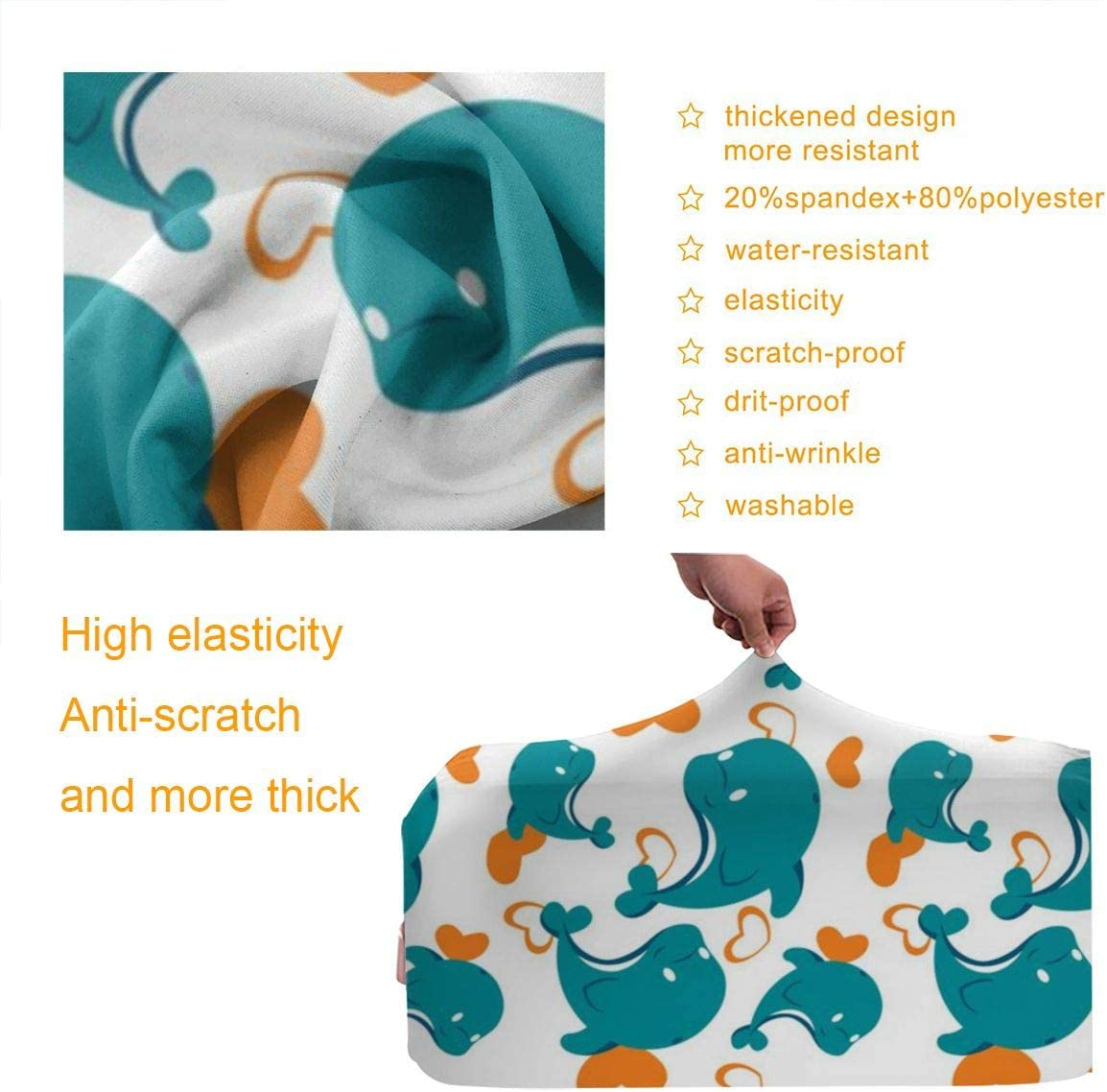 Dolphin Pattern Elastic Travel Luggage Cover,Double Print Fashion Washable Suitcase Protector Cover Fits 18-32inch Luggage