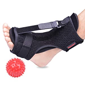 Plantar Fasciitis Night Splint Foot Drop Orthotic Brace, Adjustable Elastic Dorsal Night Splint for Plantar Fasciitis, Heel, Ankle, Arch Foot Pain, Achilles Tendonitis with Hard Spiky Massage Ball