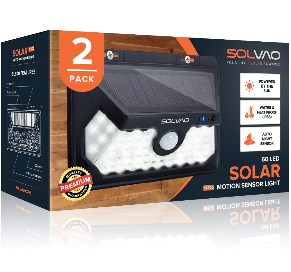 SOLVAO Solar Motion Sensor Lights Outdoor 2019 Model – 60 LED Wall Mount Security Flood Lights w IP65 Waterproof Casing – Best High Lumen Step, Stair, and Deck Lights for Outside 2 Pack
