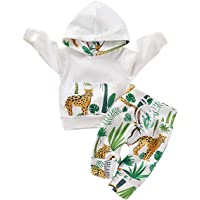 mtxtechnology Newborn Baby Boys Clothing Suit Forest Cheetah Print Hoodie Top & Pants for 0-18 Months