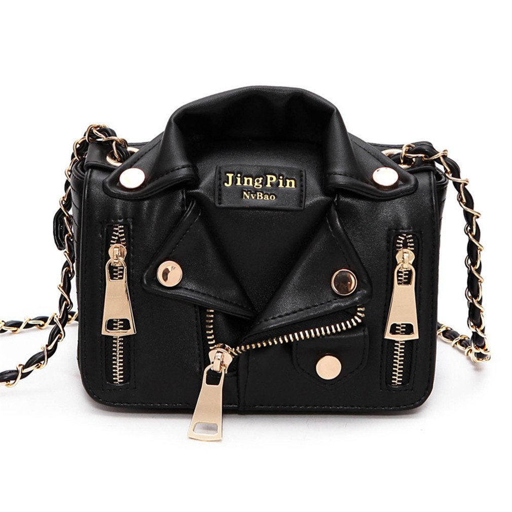 Chic-Dona Chain Motorcycle Bags Women Clothing Shoulder Rivet Jacket Bags Messenger Bag Women Leather Handbags Black by Chic-Dona